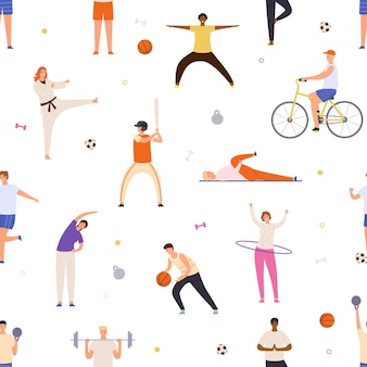 Menschen trainieren nahtloses muster. aktive männer und frauen machen yoga, sport, fahren fahrrad und spielen basketball. flacher gesunder lebensstil-vektordruck. charaktere, die karate machen, baseball und fußball spielen