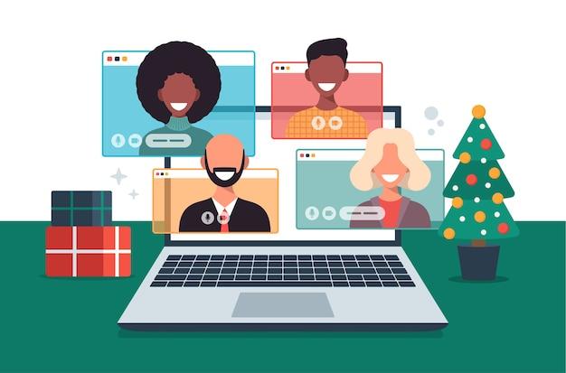 Menschen treffen sich online zusammen mit familie oder freunden videoanrufe