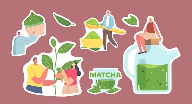 Menschen trinken matcha-tee-aufkleber-set. männliche und weibliche charaktere, die grüne teeblätter und pulver zum kochen von gesunden getränken und bäckereien verwenden, männer und frauen trinken tee. cartoon-vektor-illustration