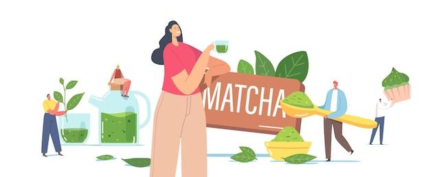 Menschen trinken matcha-tee-konzept. winzige männliche und weibliche charaktere in einer riesigen teekanne und tasse mit grünen teeblättern und pulver zum kochen von gesunden getränken und bäckereien. cartoon-vektor-illustration