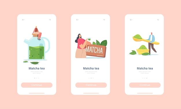 Menschen trinken matcha-tee mobile app-seite onboard-bildschirmvorlage. winzige charaktere in riesiger teekanne und tasse mit grünen teeblättern und pulver für ein gesundes getränkekonzept. cartoon-vektor-illustration