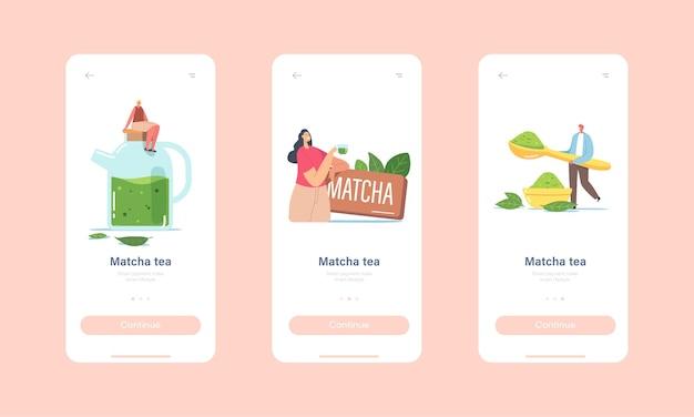 Menschen trinken matcha-tee mobile app-seite onboard-bildschirmvorlage