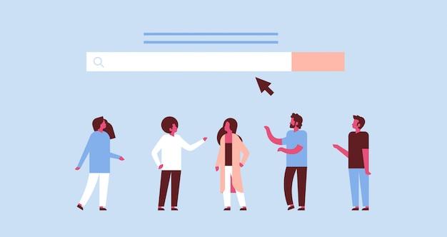 Menschen über suche online-internet-browsing web-konzept website www bar grafik flach horizontal