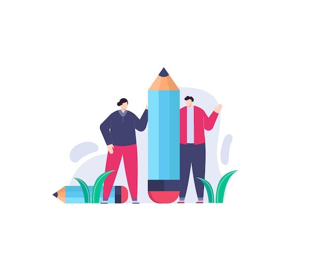 Menschen und bleistift flache illustration