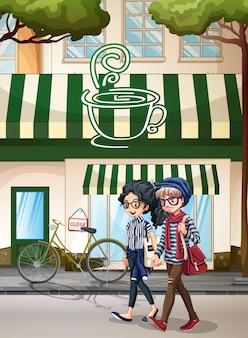 Menschen und cafe