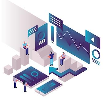 Menschen und diagramme mit smartphones und infografiken vektor-illustration design