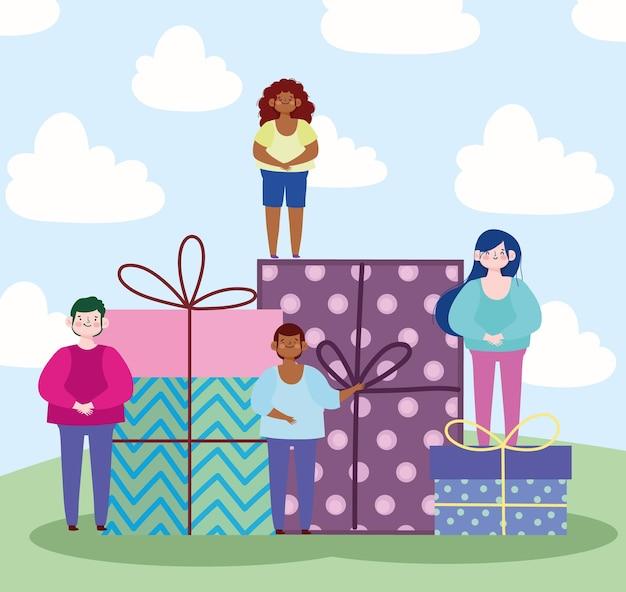 Menschen und geschenke überraschen feierkarikaturillustration