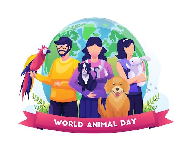 Menschen und ihre haustiere feiern den welttiertag tag der tierwelt mit den tieren vector illustration