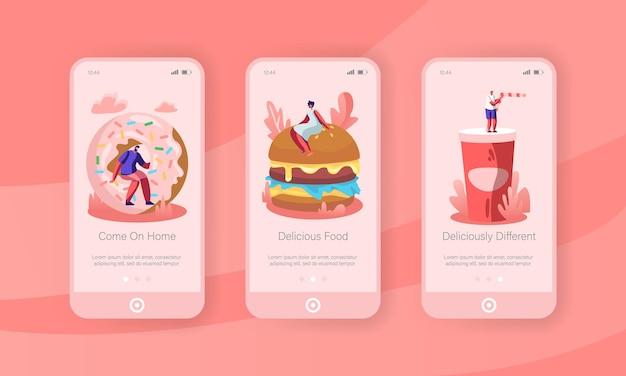 Menschen und junkfood mobile app onboard screen set