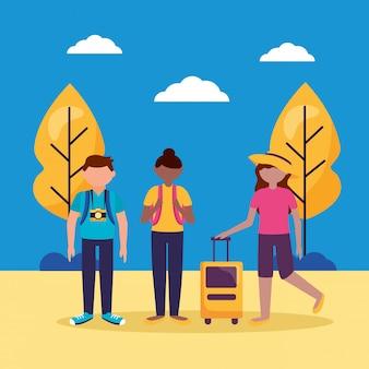Menschen und reisen flache bauform
