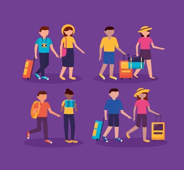 Menschen und reisen in flachen stil