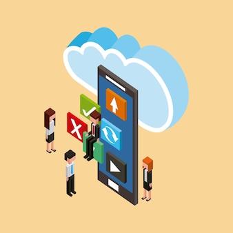 Menschen und smartphone-anwendungen