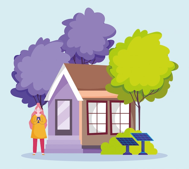 Menschen und smartphone, frau mit handy des öko-hauses mit solarpanel-cartoon