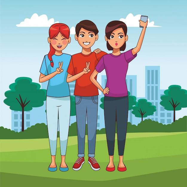 Menschen und smartphone