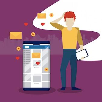 Menschen und social media und netzwerk