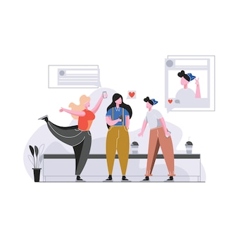 Menschen und social network illustration