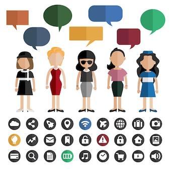 Menschen und sprechblasen