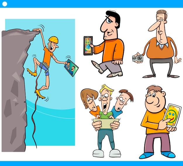 Menschen und technologie cartoon-set