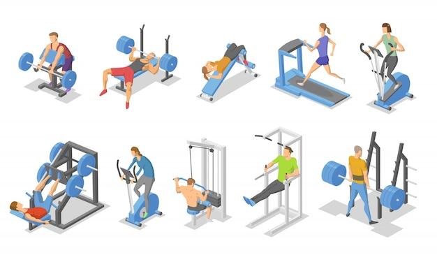 Menschen und trainingsgeräte im fitnessstudio. isometrischer satz von fitnessgerätesymbolen.