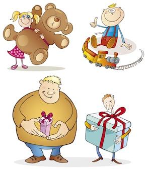 Menschen und weihnachtsgeschenke