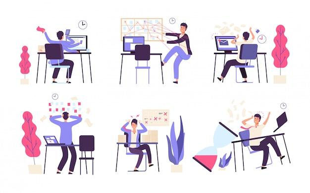 Menschen unorganisiert. männer scheitern an geplanten aufgabeneffizienz produktivität zeitmanagement-vektorkonzept