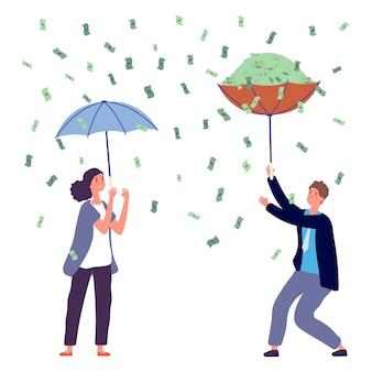 Menschen unter geldregen. frauenmann, der regenschirm, investitionsgewinn hält. glückliche geschäftsperson, reiche vektorzeichen. regendollarbargeld, erfolgskarikaturfrau und -mannillustration