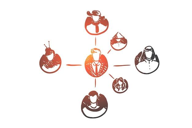 Menschen, verbindung, netzwerk, global, community-konzept. hand gezeichnete verschiedene personen verbundene konzeptskizze.