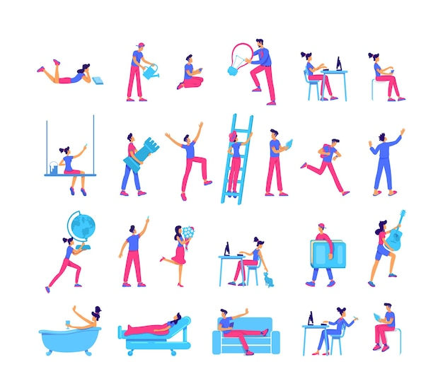 Menschen verbringen freizeit flache farbe gesichtslosen zeichensatz. lernen und wachsen, hobbys, freizeit isolierte cartoonillustration für webgrafikdesign und animationssammlung