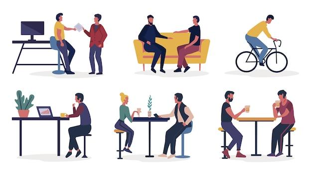 Menschen verbringen zeit miteinander zu hause, im freien und in der cafeteria
