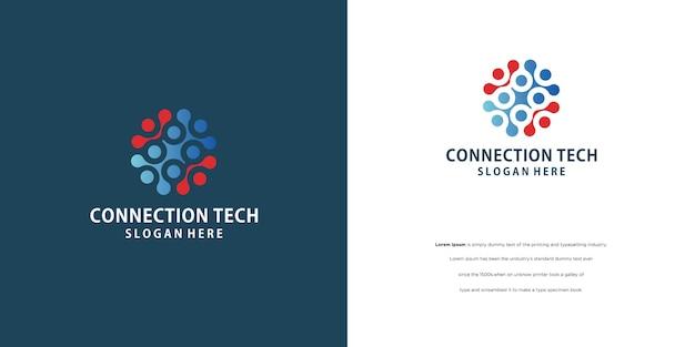 Menschen verbundenes logo, kommunikation, familie, sozialfürsorge, kinder, sport, vektorsymbolisches zeichen