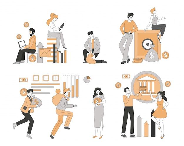 Menschen verdienen und sparen geld, machen geschäftsanalyse und finanzpläne karikatur gliederung illustration.