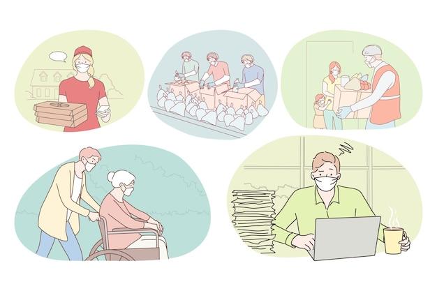 Menschen verschiedener berufe, die während einer coronavirus-pandemie arbeiten.