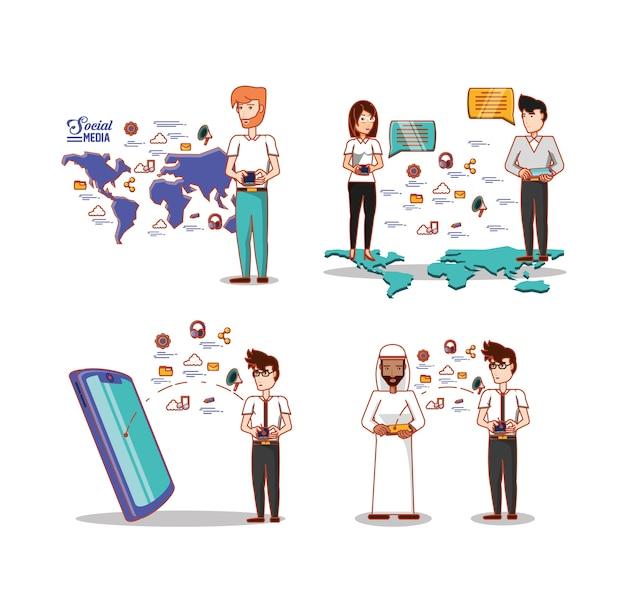 Menschen verschiedener ethnischer gruppen mit social media icons