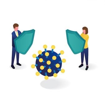 Menschen verwenden schild, um vor isometrischer darstellung des coronavirus zu schützen