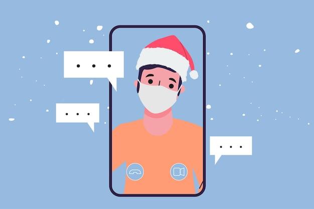 Menschen videoanruf konferenz zu weihnachten.