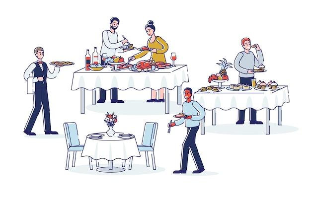 Menschen während des abendbuffets cartoon-abendessen am buffet catering essen