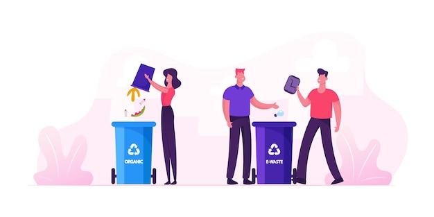Menschen werfen müll in behälter für bio- und elektroschrott-abfallbehälter mit recycling-zeichen. stadtbewohner, die müll sammeln. karikatur flache illustration