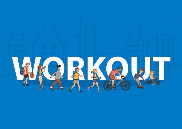 Menschen workout lifestyle idee konzept mit flachen großen buchstaben