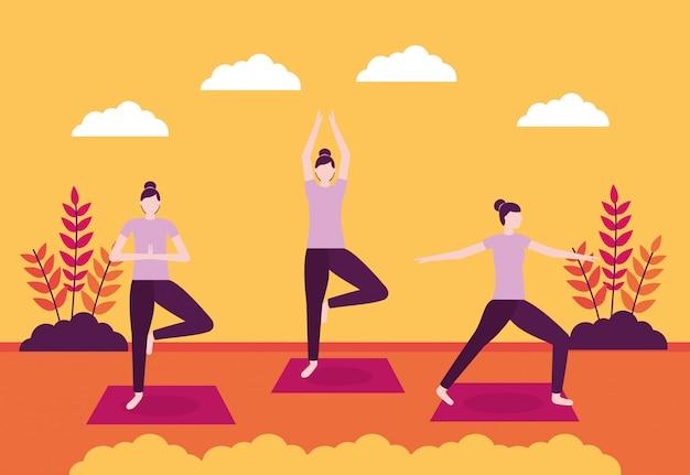 Menschen yoga-aktivität