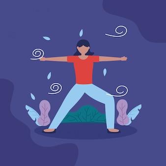 Menschen yoga im freien in flachen stil