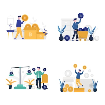 Menschen zählen, wiegen, kaufen und investieren kryptowährung illustration,