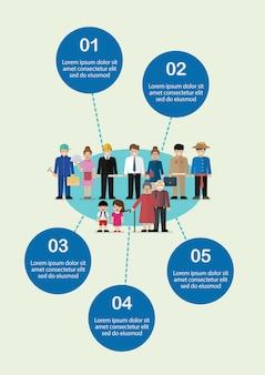 Menschen zeichen in flachen stil infografik