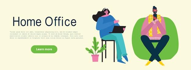 Menschen zu hause in quarantäne. arbeiten zu hause, coworking space, webinar, videokonferenzkonzept moderne flache stilillustration