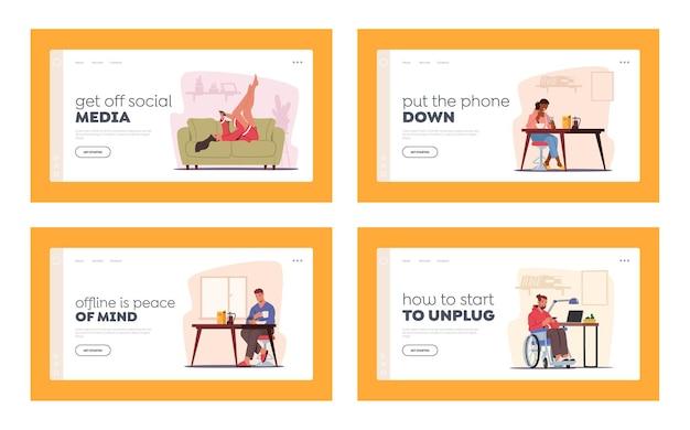 Menschen zu hause mit handys landing page template set