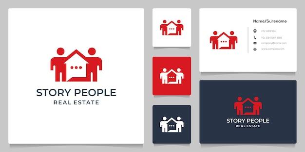 Menschen zu hause teamwork gestalten immobilien logo-design