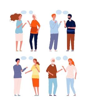 Menschengespräch. dialog personen unterschiedlichen alters, geschlechts und nationalitäten, die mit sprechblasen sprechen.