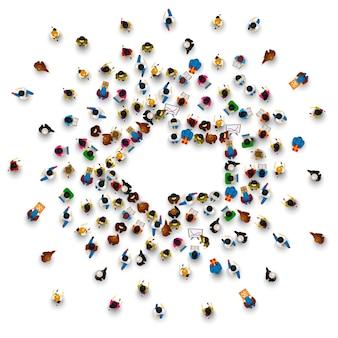 Menschengruppe zeichenpfeil links auf dem weißen hintergrund. vektor-illustration