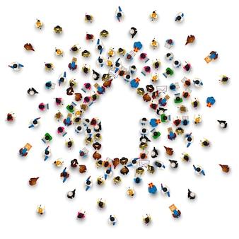 Menschengruppe zeichenpfeil nach oben auf dem weißen hintergrund. vektor-illustration