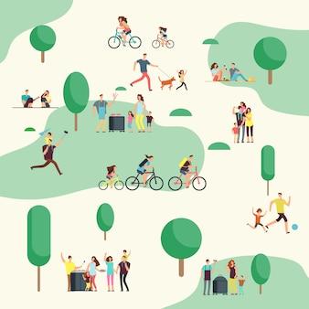 Menschengruppen auf auf grillpicknick. glückliche familien in verschiedenen outdoor-aktivitäten im sommer park.