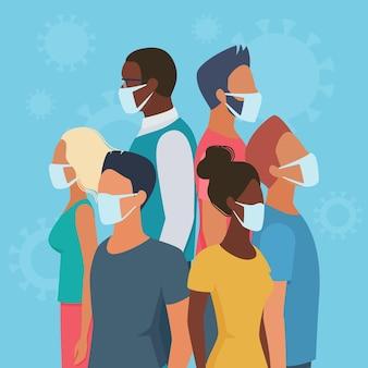 Menschengruppen in masken stehen rücken an rücken, um sich gegenseitig vor gefahren zu schützen